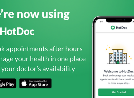Book your next appointment online via the HotDoc app
