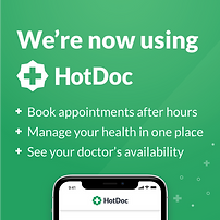 We are on hotdoc. download the app and book your next appointment
