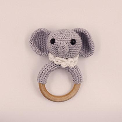 Rammelaar/bijtring olifant met houten ring