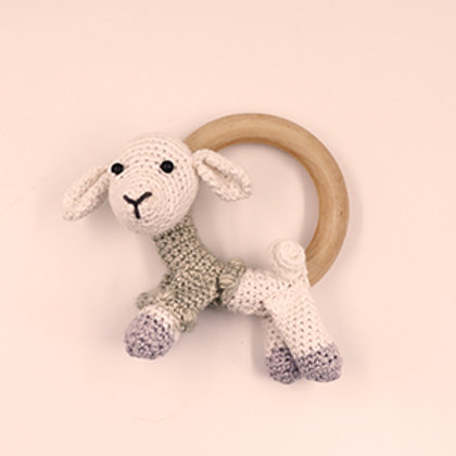 Rammelaar/bijtring schaap met houten ring