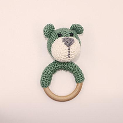 Rammelaar/bijtring beer met houten ring