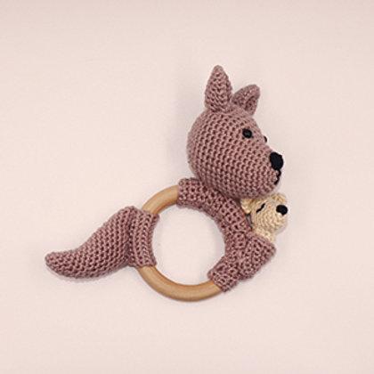Rammelaar/bijtring kangeroe met houten ring