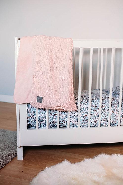 Deken100x150cm River knit pale pink/coral fleece