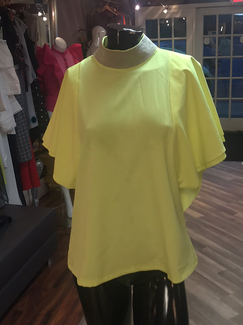 Lime and Silver Neck Top