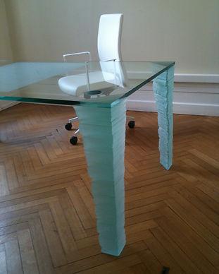 sablage sur verre et meuble en verre sur mesure