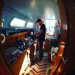 Simon Lucas cooking, S/V Orizaba