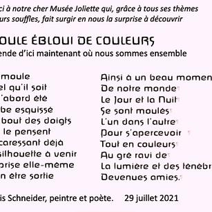 Denis Schneider, Moule ébloui de couleurs, 2021