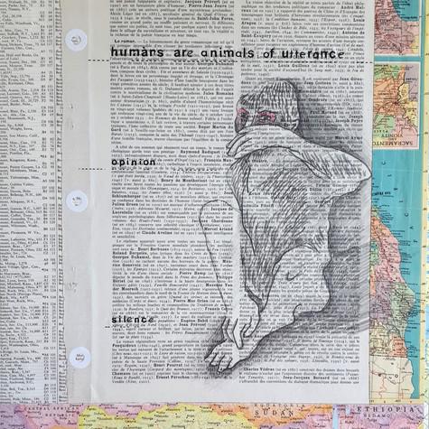 Ann Bilodeau, Page 879, Humans are animals of utterance (speak no evil), Série          Encyclopédie, volume 1, 2016