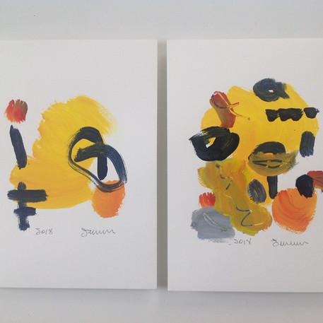 Joscelyne Ferland, dessin1 jaune & d'orange dessin 2 jaune & or, 2018