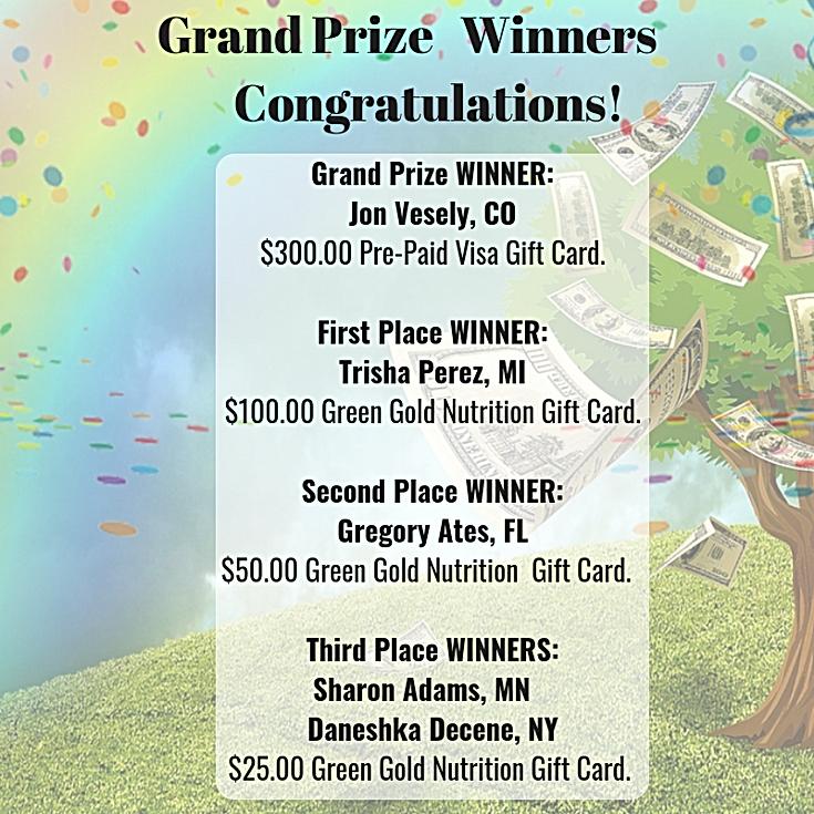 winners, giveaways, green gold nutrition