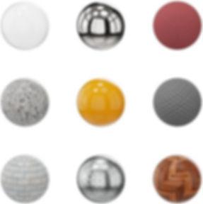 Muchos materiales disponibles para sus proyectos de interior - maderas, metales, telas, piedras, plástico