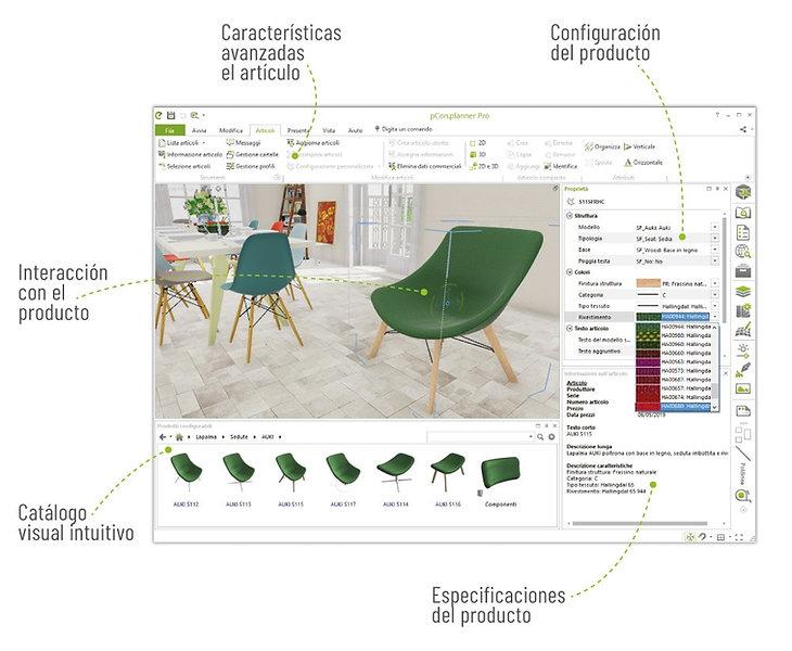 Muchas características de configuración en la aplicación de diseño de interiores 3D