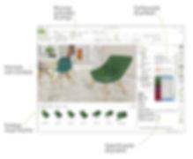 Muitos recursos de configuração no aplicativo de design de interiores em 3D