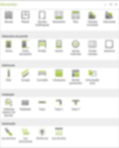 Elementos arquitectónicos disponíveis em pCon.planner