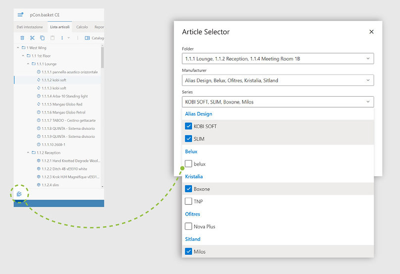 Article filter in CPQ solution