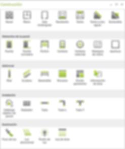 Elementos arquitectónicos disponibles en pCon.planner