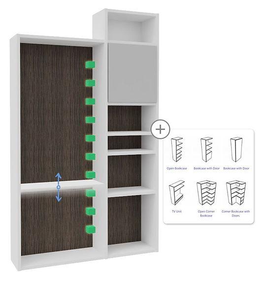 Biblioteca genérica configurável de estantes para designers de interiores