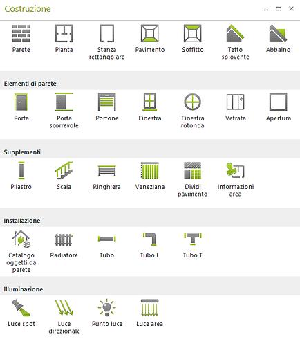 Elementi architetturali disponibili in pCon.planner