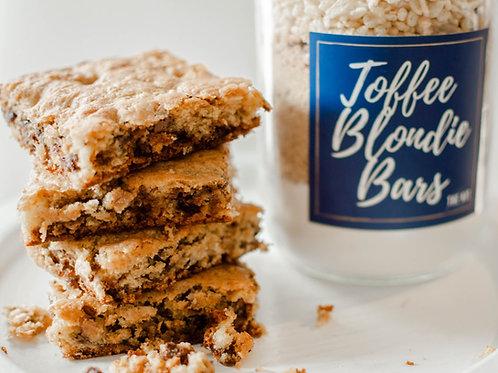Toffee Blondie Bars in a Jar