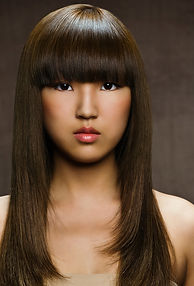 Brown Asian Long Hair Blowout. Santa Monica Beauty and Hair Salon