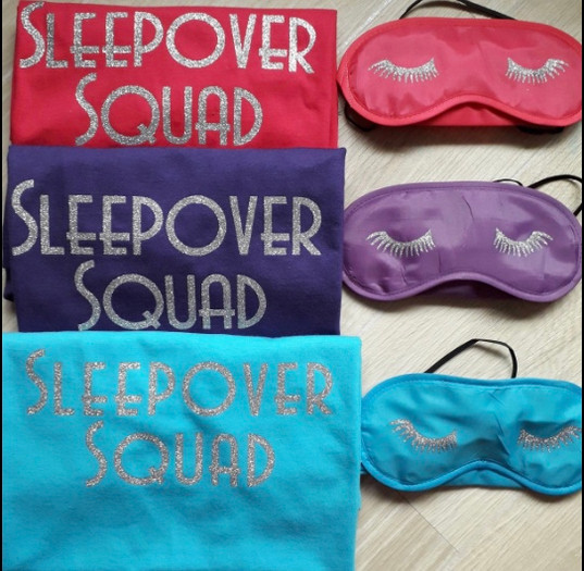 Personalised T shirts with name on the back £10 each and eye masks £5 each.