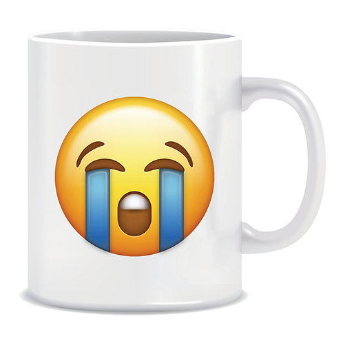 crying emoji face printed mug