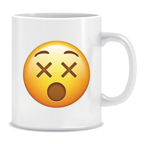 dizzy emoji face printed mug