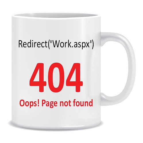 Redirect Error Message, 404, Page Not Found, Printed Mug