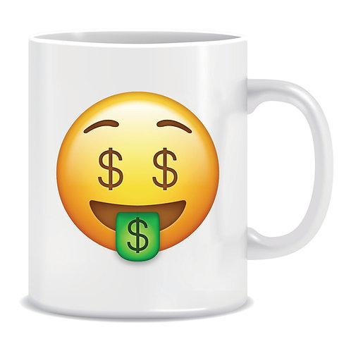 money emoji face printed mug