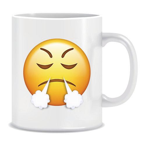 angry face emoji printed mug