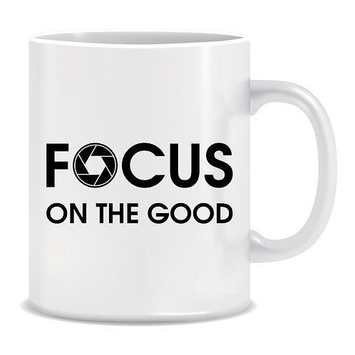 Focus on the Good, Photography, Camera Lens, Printed Mug