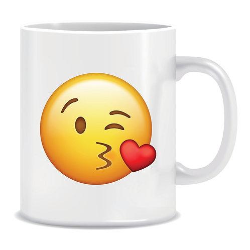 kiss blow emoji face printed mug