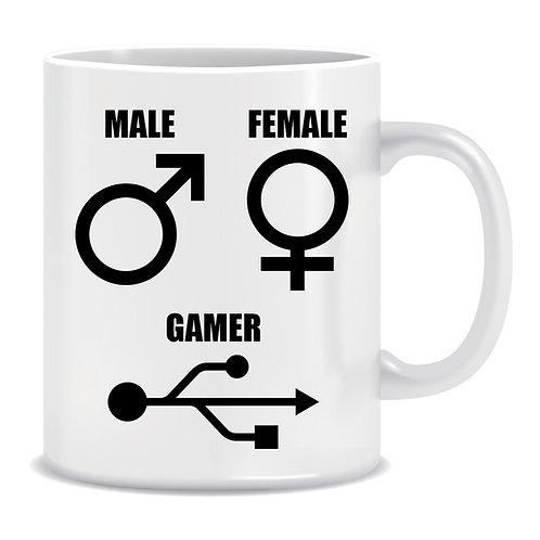 Male Sign, Female Sign, USB Sign, Gaming, Printed Mug
