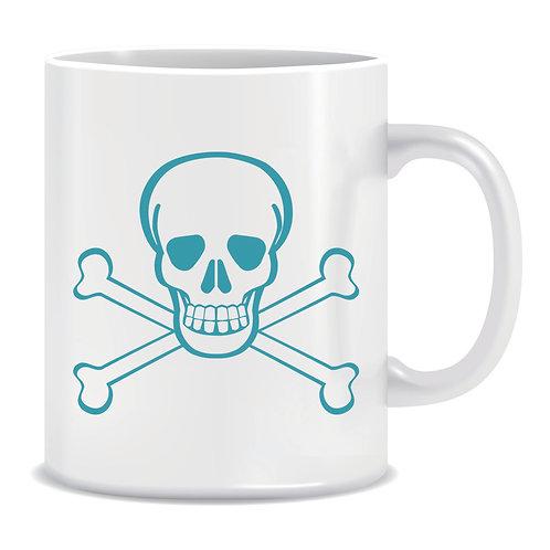 printed mug with skull and crossbones