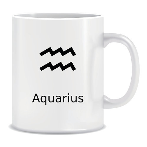 printed mug gift zodiac star sign aquarius