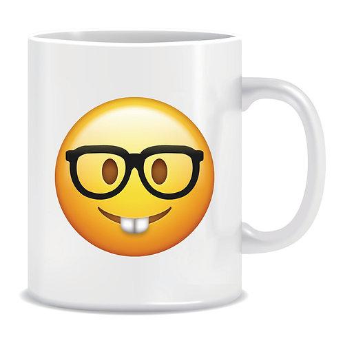 nerd emoji face printed mug