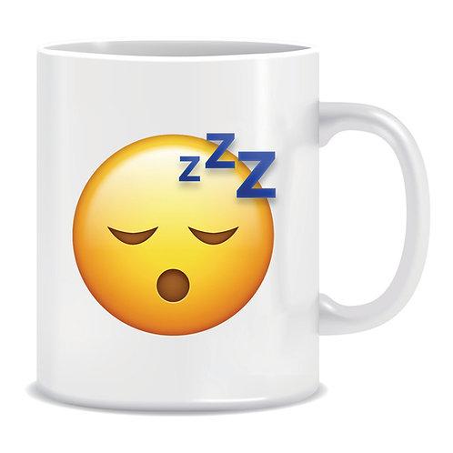 sleepy emoji face printed mug