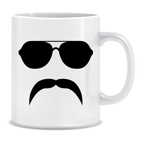 Aviator Sunglasses With Mustache, Printed Mug