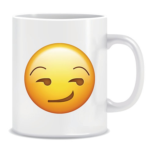 smirk emoji face printed mug