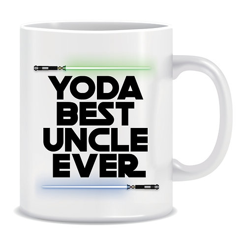 Yoda Best Uncle Ever, Family, Star Wars, Lightsaber, TV and Movie, Printed Mug
