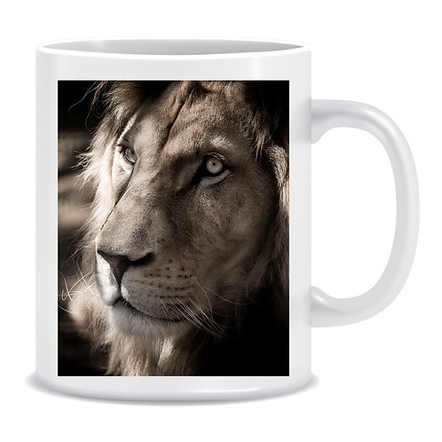white lion photo mug gift