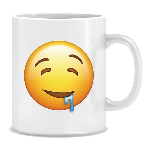 drool emoji face printed mug
