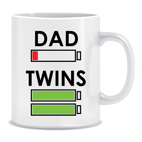 Dad vs Twins, Battery Levels, Energy Levels, Printed Mug