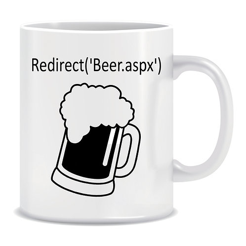 Redirect Beer ASPX, Printed Mug, Programming, Coding