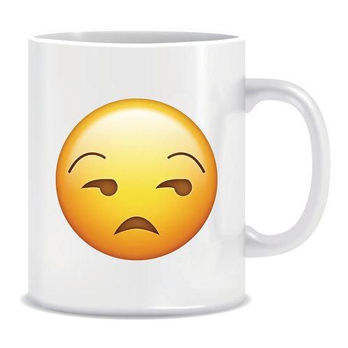 not amused emoji face printed mug