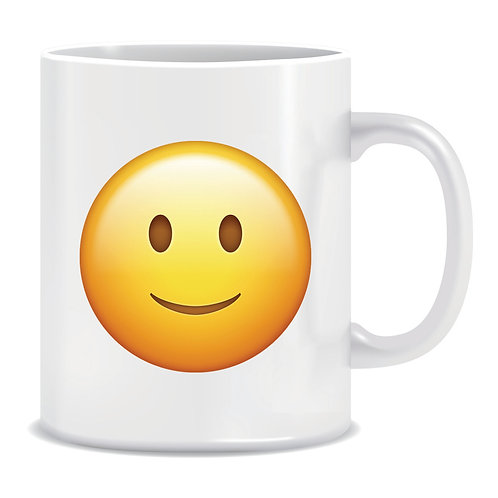 smile emoji face printed mug