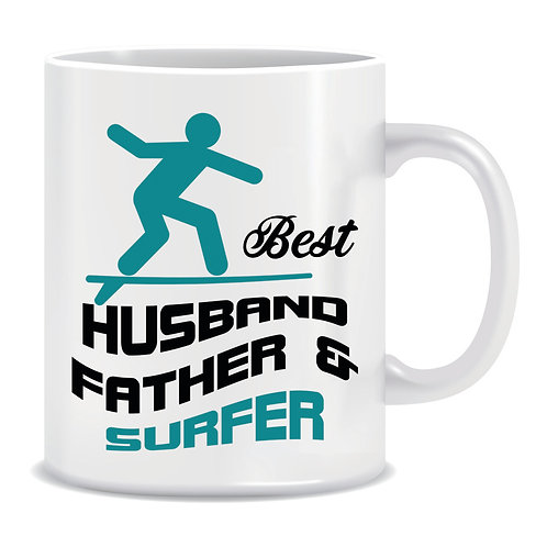 surfer dad printed fathers day mug for husband