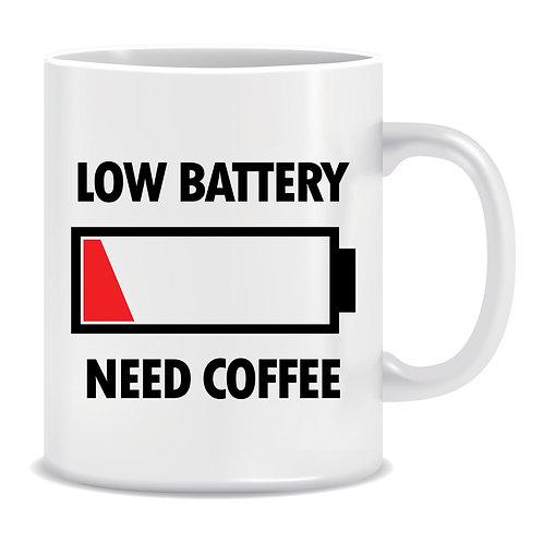 Low Battery Need Coffee, Printed Mug