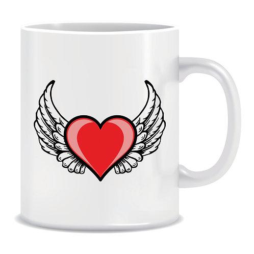 Printed Mug Heart With Wings