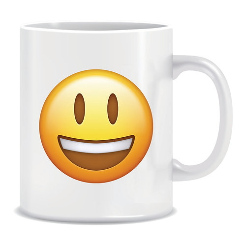 happy emoji face printed mug
